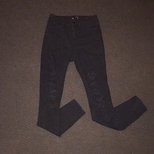 High rise ankle skinny Rip jeans